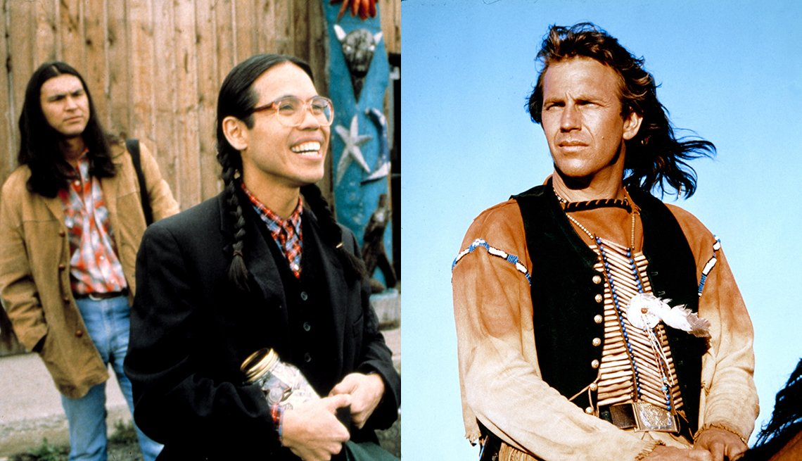 Side-by-side images of Adam Beach and Evan Adams star in Smoke Signals and Kevin Costner in Dances With Wolves