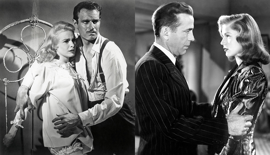 Janet Leigh and Charlton Heston star in the film Touch of Evil and Humphrey Bogart and Lauren Bacall star in the film The Big Sleep