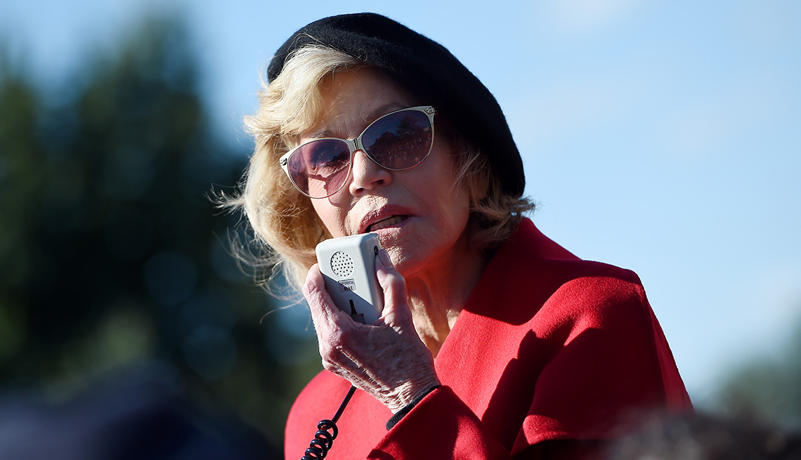 Actress Jane Fonda speaks outside the US Capitol during a climate change protest