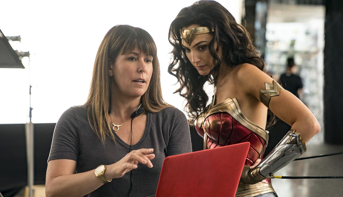 Director Patty Jenkins and actress Gal Gadot on the set of Wonder Woman 1984
