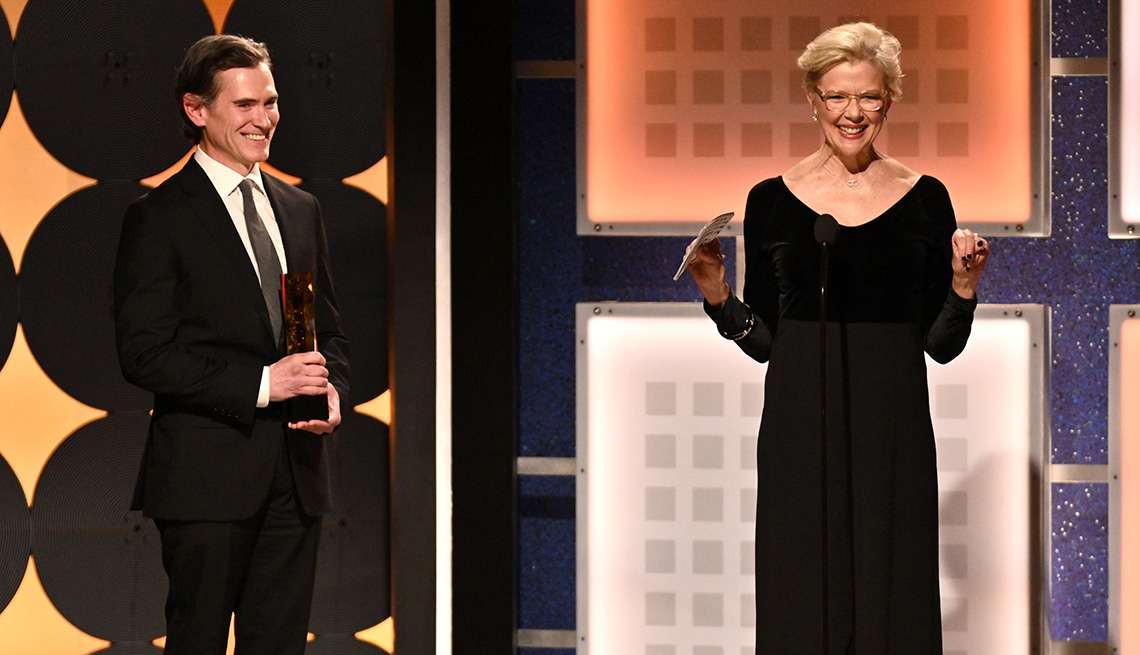Billy Crudup presents the career achievement award to Annette Bening at the Movies for Grownups Awards