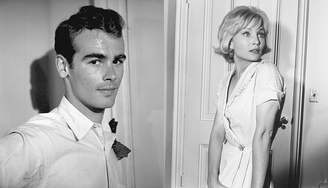 "Dean Stockwell (izquierda) y Susan Oliver en ""The Alfred Hitchcock Hour."""