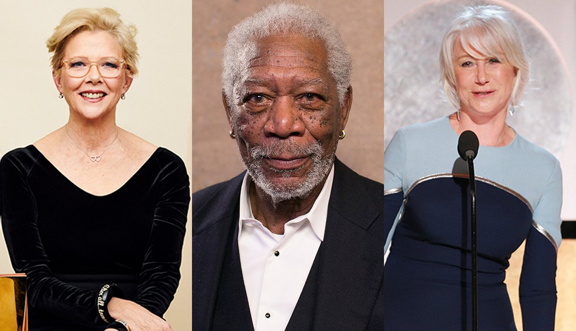 AARP Movies for Grownups Career Achievement honorees Annette Bening, Morgan Freeman and Helen Mirren