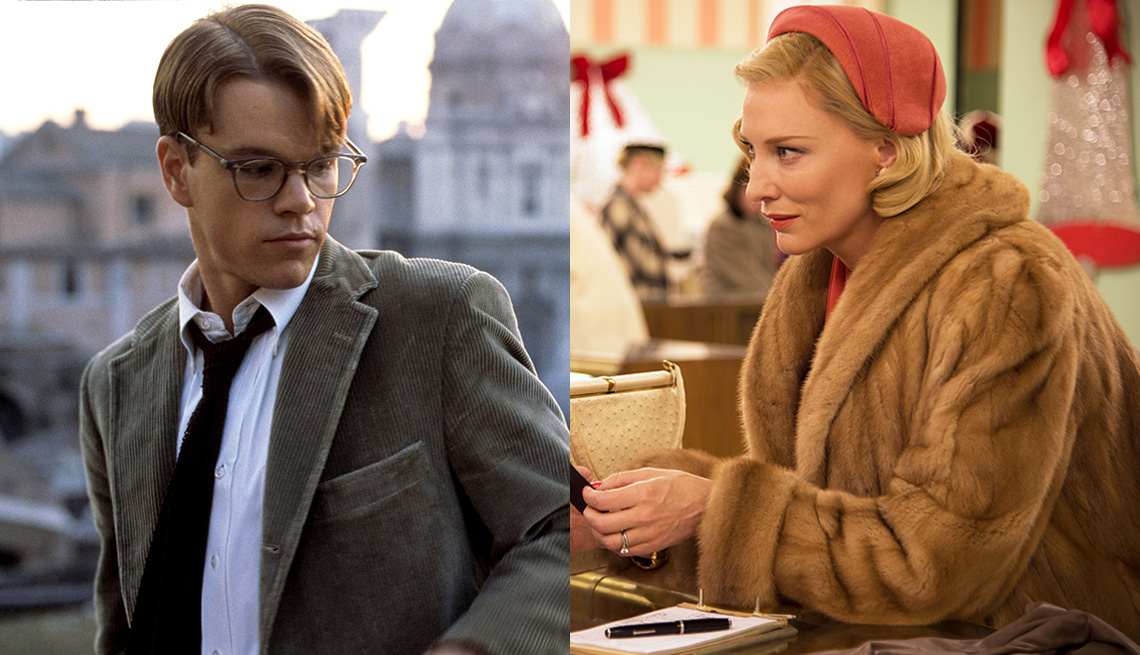 Matt Damon in the film The Talented Mr. Ripley and Cate Blanchett in the film Carol