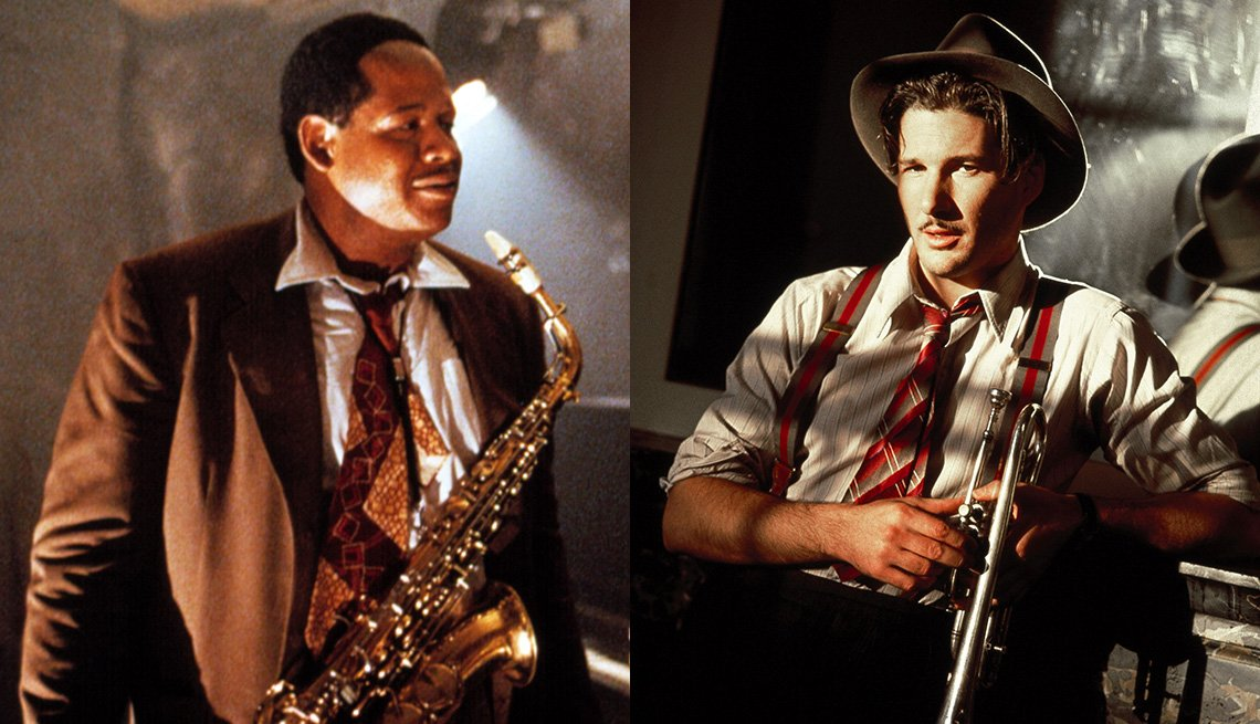 "Forest Whitaker como Charlie 'Bird' Parker en el filme ""Bird"" y Richard Gere como Dixie Dwyer en el filme ""The Cotton Club""."