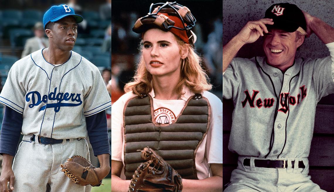 Chadwick Boseman como Jackie Robinson en 42, Geena Davis como Dottie Hinson en A League of Their Own y Robert Redford como Roy Hobbs en The Natural