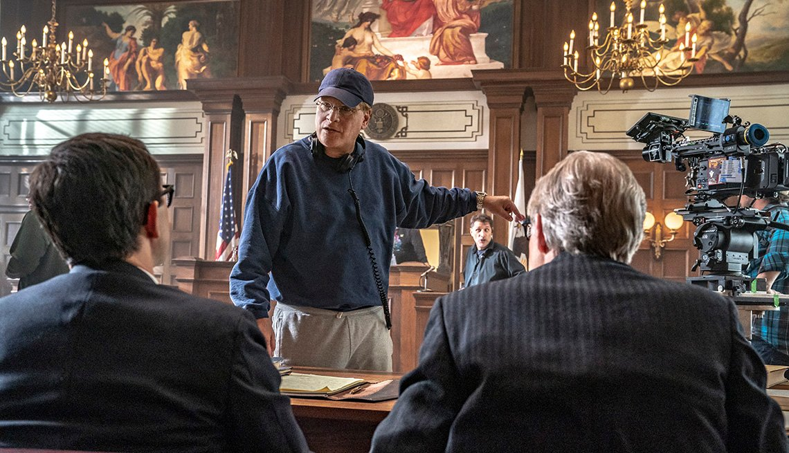 item 9 of Gallery image - Director Aaron Sorkin providing instruction on the set of the film The Trial of the Chicago 7