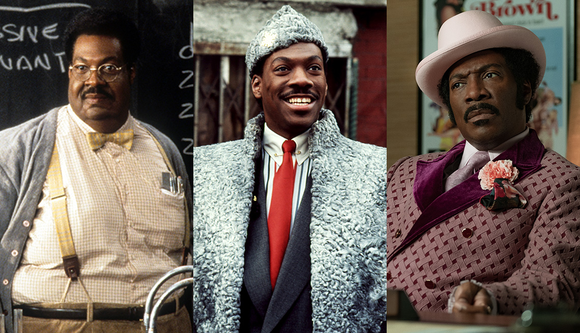 Stills of Eddie Murphy in the films The Nutty Professor, Coming to America and Dolemite Is My Name