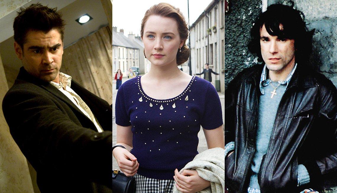 "Colin Farrell en ""In Bruges"", Saoirse Ronan en ""Brooklyn"" y Daniel Day-Lewis en ""In the Name of the Father""."