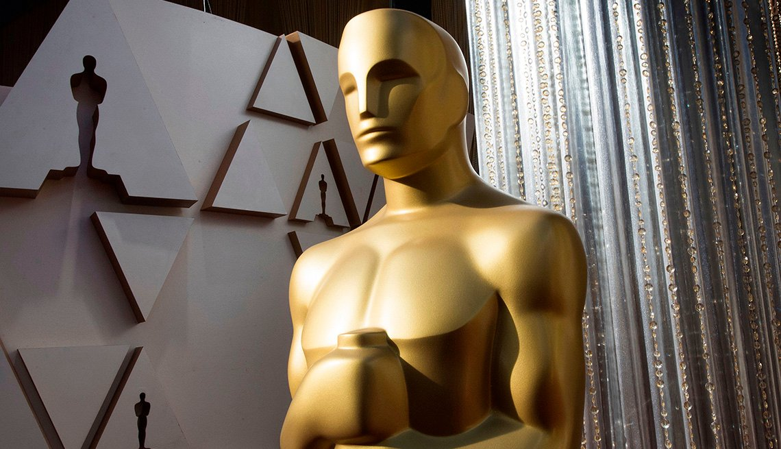 An Oscars statue is displayed on the red carpet area carpet area on the eve of the 92nd Academy Awards