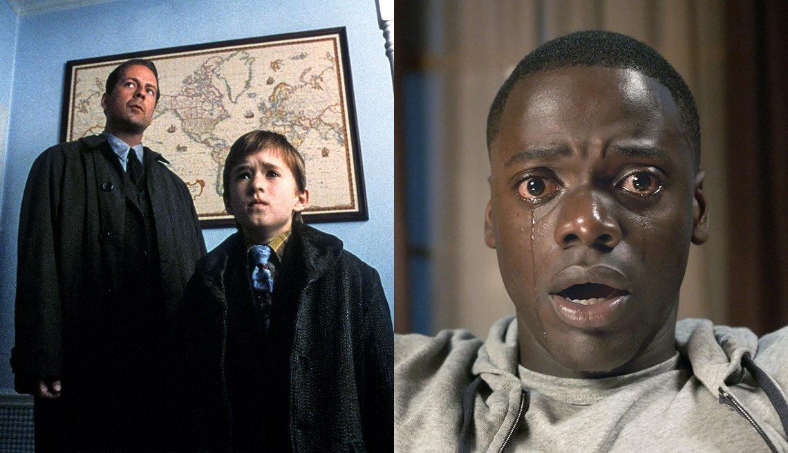 Bruce Willis and Haley Joel Osment in a scene from The Sixth Sense and Daniel Kaluuya in the film Get Out