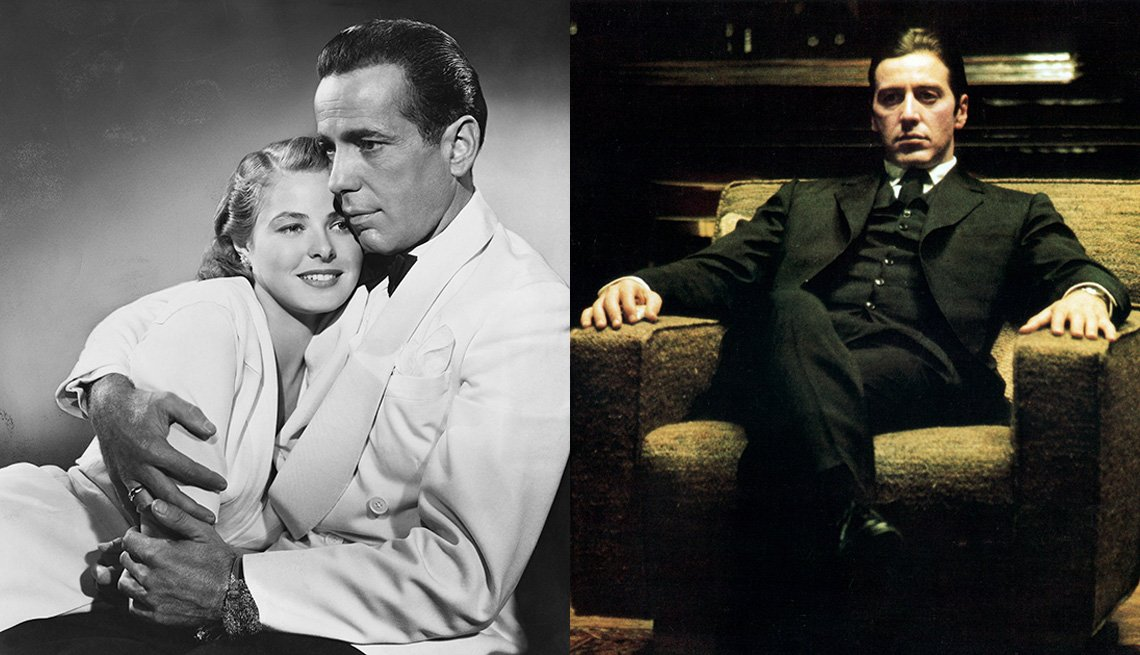 Humphrey Bogart and Ingrid Bergman embrace in the film Casablanca and Al Pacino sits in a chair in The Godfather Part Two