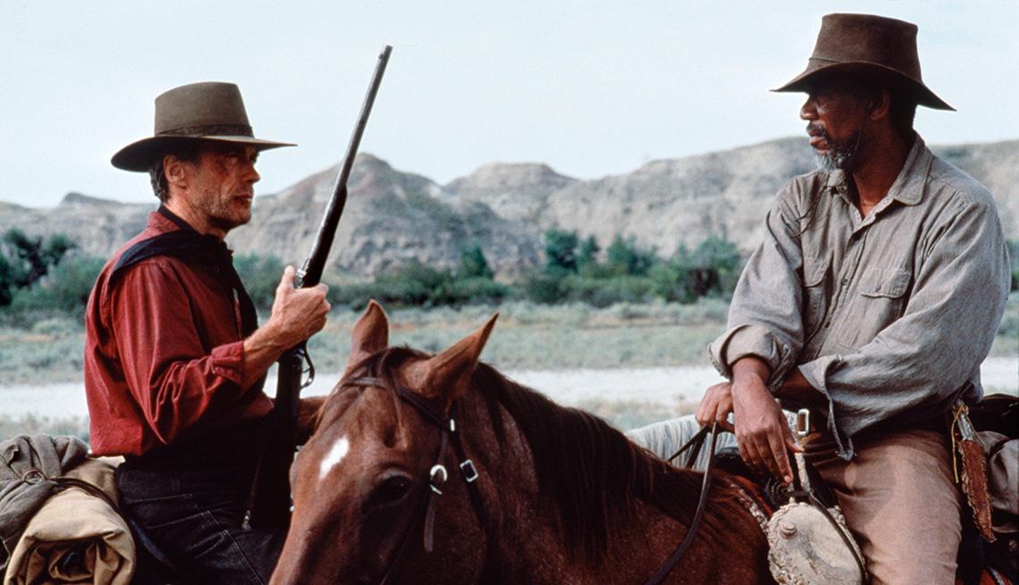 Clint Eastwood y Morgan Freeman protagonizan la película Unforgiven.