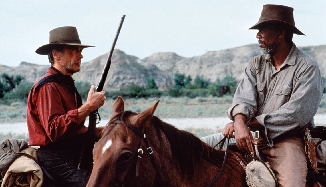 Clint Eastwood and Morgan Freeman star in the film Unforgiven