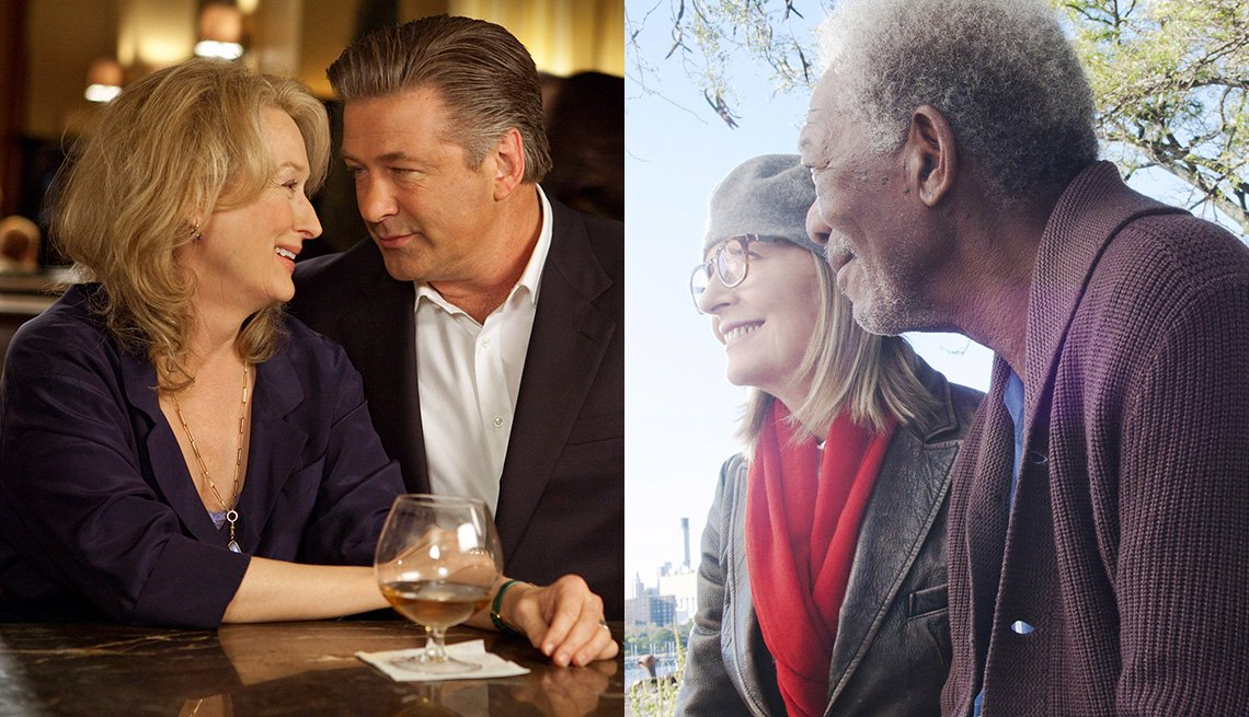 "(De izquierda a derecha) Meryl Streep y Alec Baldwin en ""It's Complicated"" y Diane Keaton y Morgan Freeman en ""5 Flights Up""."