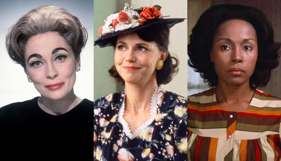 """Faye Dunaway en """"Mommie Dearest"""", Sally Field en """"Forrest Gump"""" y Diahann Carroll en """"Claudine""""."""