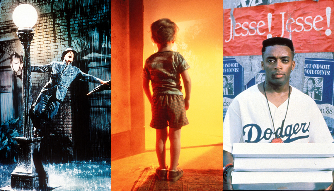 Gene Kelly performing in the film Singin' in the Rain, Cary Guffey in the film Close Encounters of the Third Kind and Spike Lee as Mookie in Do the Right Thing