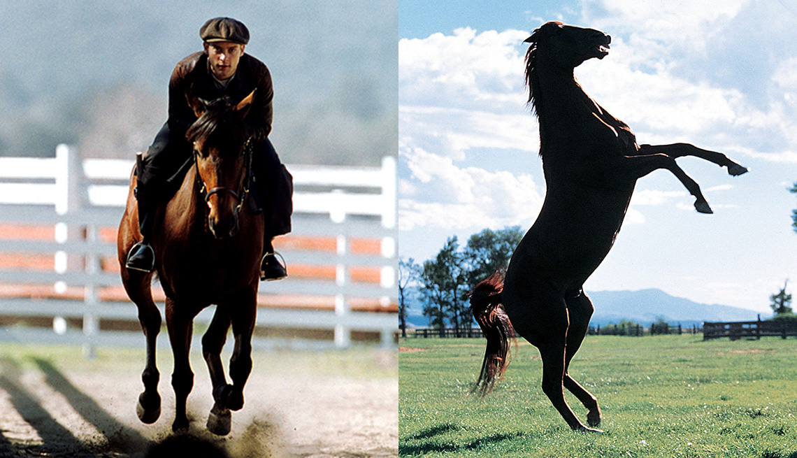 """Tobey Maguire (izquierda) en """"Seabiscuit"""" y un caballo en una escena de """"The Horse Whisperer""""."""