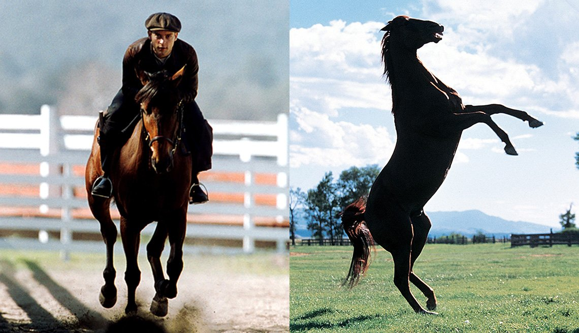 Tobey Maguire riding a horse in the film Seabiscuit and a horse on its hind legs in The Horse Whisperer
