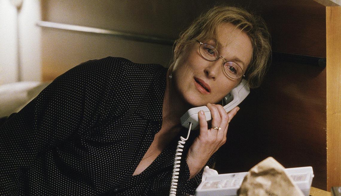 Meryl Streep talking on the phone in the film Adaptation