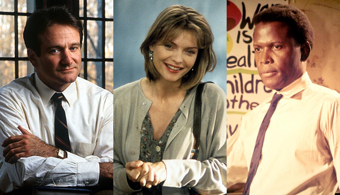 """Robin Williams en """"Dead Poets Society"""", Michelle Pfeiffer en """"Dangerous Minds"""" y Sidney Poitier en """"To Sir, With Love""""."""