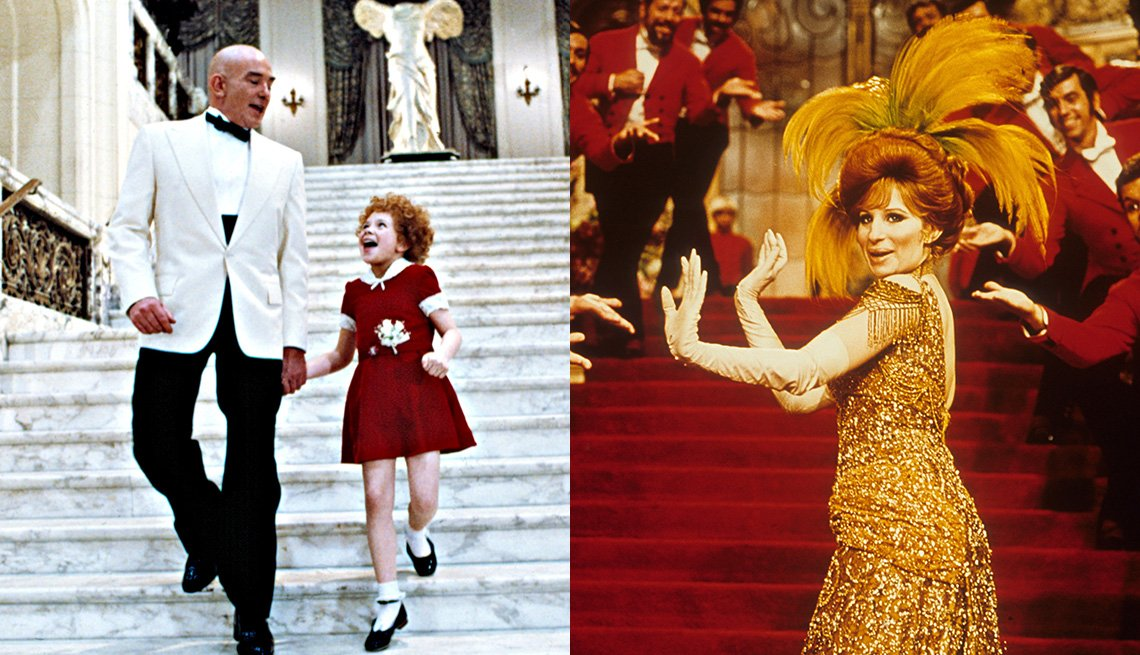 Albert Finney and Aileen Quinn walking down a stairway in the film Annie and Barbra Streisand performing in a scene in the film Hello, Dolly!