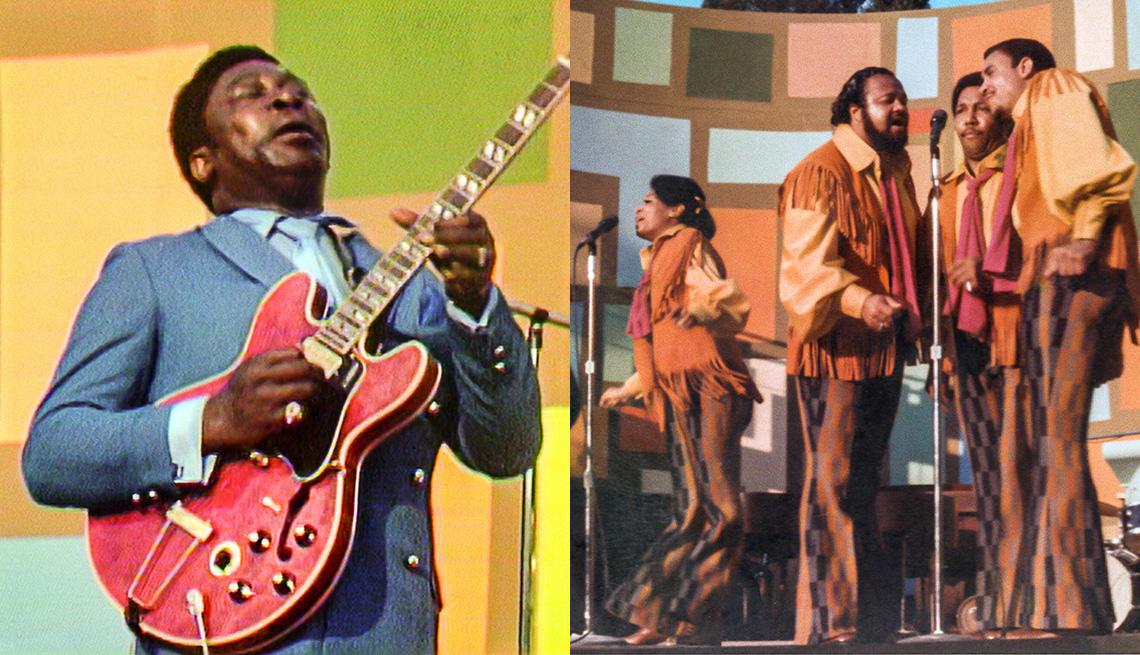 B.B. King (izquierda) y The 5th Dimension en el Festival Cultural de Harlem en 1969.