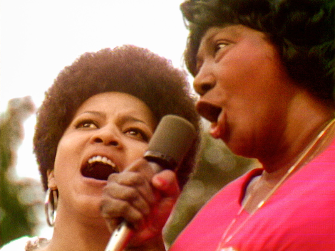 Mavis Staples and Mahalia Jackson sing together at the Harlem Cultural Festival in 1969