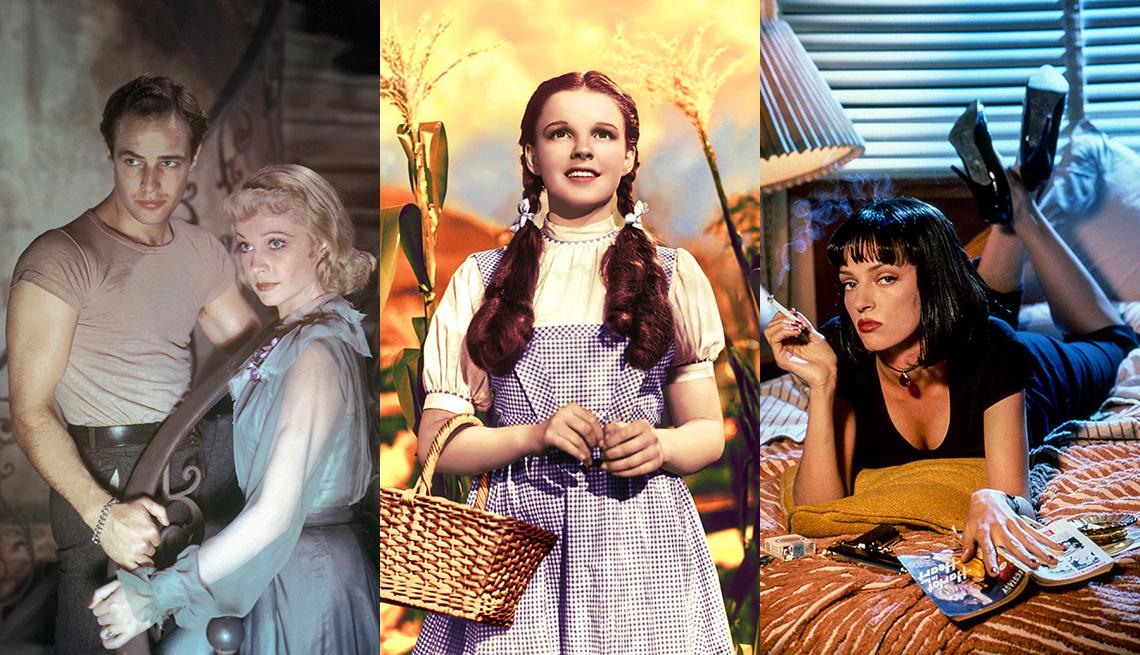 """(De izquierda a derecha) Marlon Brando y Vivien Leigh en el set de """"A Streetcar Named Desire"""", Judy Garland en """"The Wizard of Oz"""" y Uma Thurman en """"Pulp Fiction""""."""