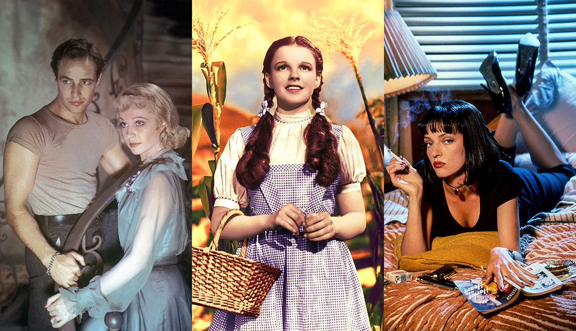 Marlon Brando and Vivien Leigh in A Streetcar Named Desire, Judy Garland in The Wizard of Oz and Uma Thurman in Pulp Fiction