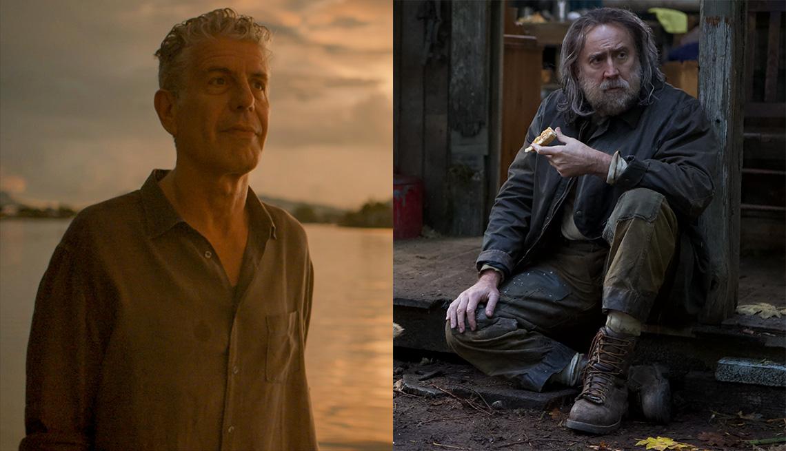 "Anthony Bourdain en ""Roadrunner: A Film About Anthony Bourdain"" y Nicolas Cage en ""Pig""."