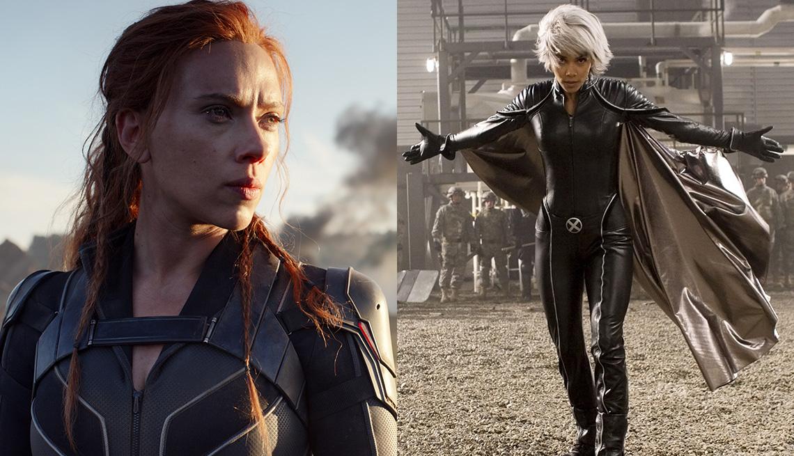 """Scarlett Johansson (izquierda) como Natasha Romanoff en """"Black Widow"""" y Halle Berry en """"X-Men: The Last Stand""""."""
