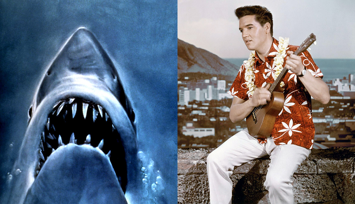 Promotional art from Jaws and Elvis Presley playing a ukulele in Blue Hawaii