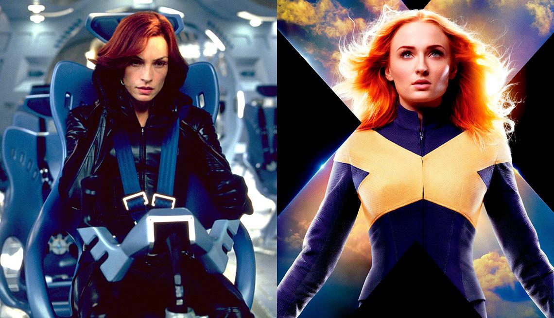 "Famke Janssen en ""X2: X-Men United"" y Sophie Turner en ""Dark Phoenix""."