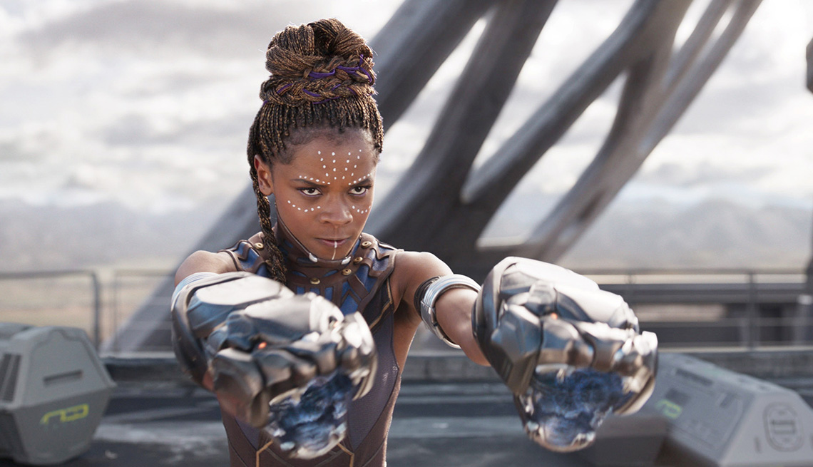 Letitia Wright in the film Black Panther