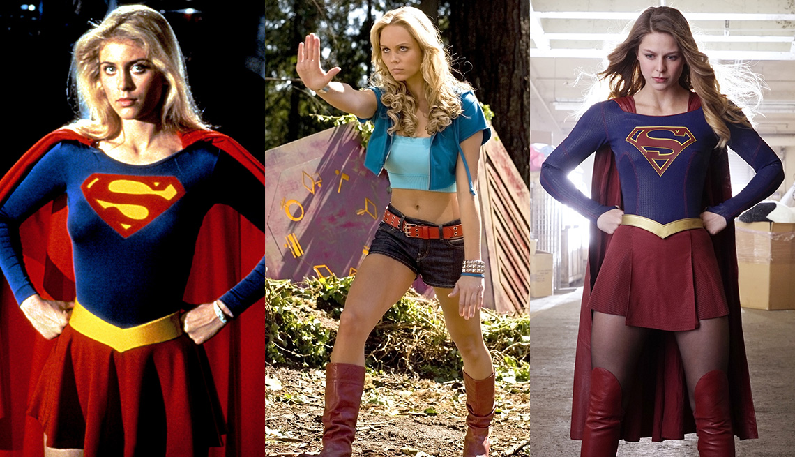 Helen Slater, Laura Vandervoort and Melissa Benoist as Supergirl