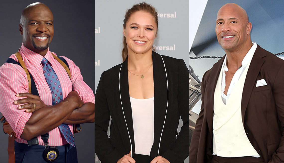 Side by side images of Terry Crews, Ronda Rousey and Dwayne Johnson