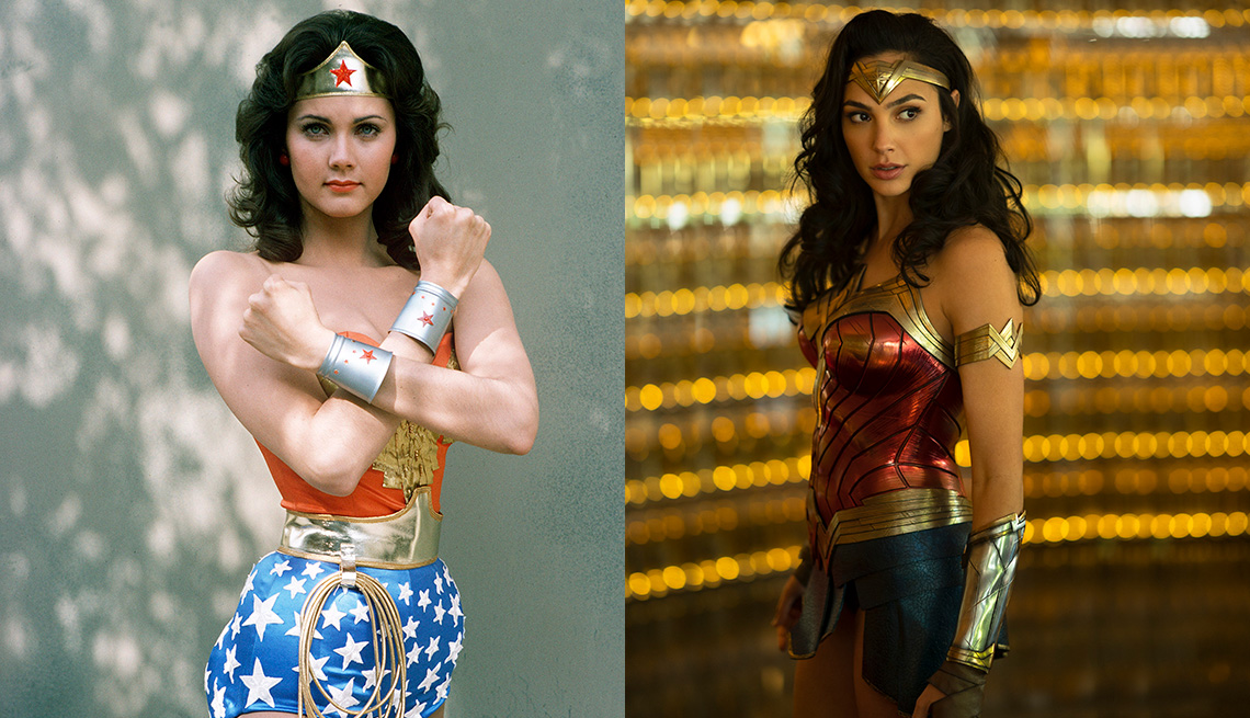 Lynda Carter and Gal Gadot as Wonder Woman