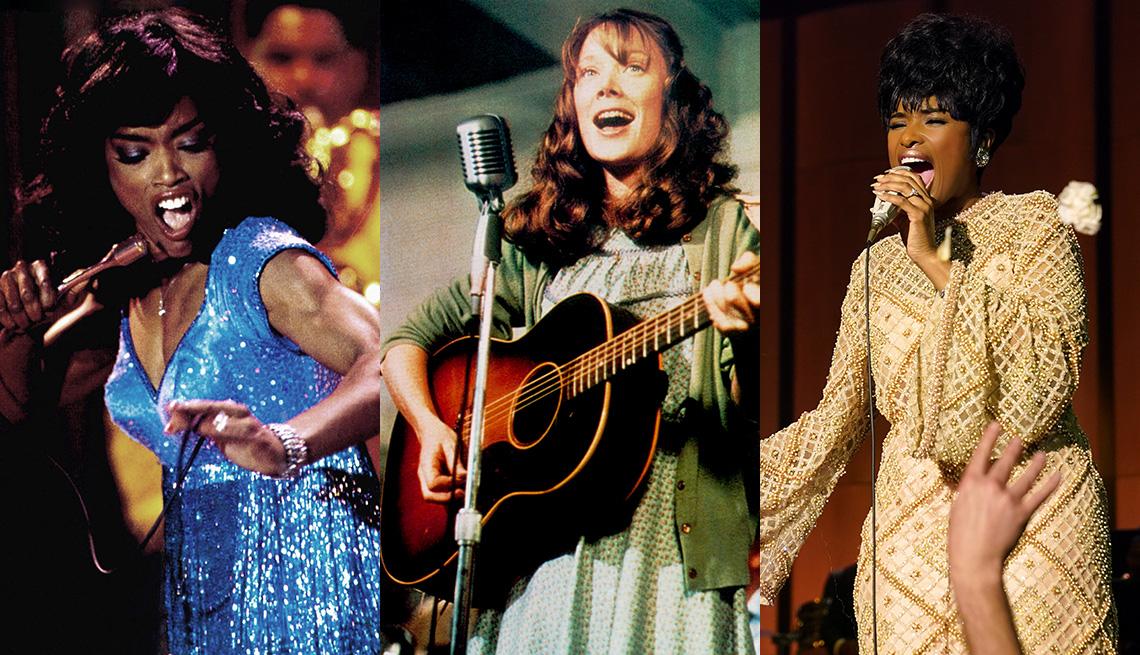 "Angela Bassett como Tina Turner en ""What's Love Got to Do With It"", Sissy Spacek como Loretta Lynn en ""Coal Miner's Daughter"" y Jennifer Hudson como Aretha Franklin en ""Respect""."