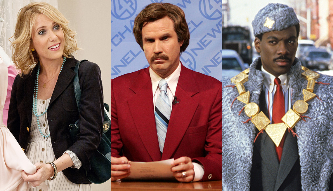 Kristen Wiig in Bridesmaids, Will Ferrell in Anchorman and Eddie Murphy in Coming to America