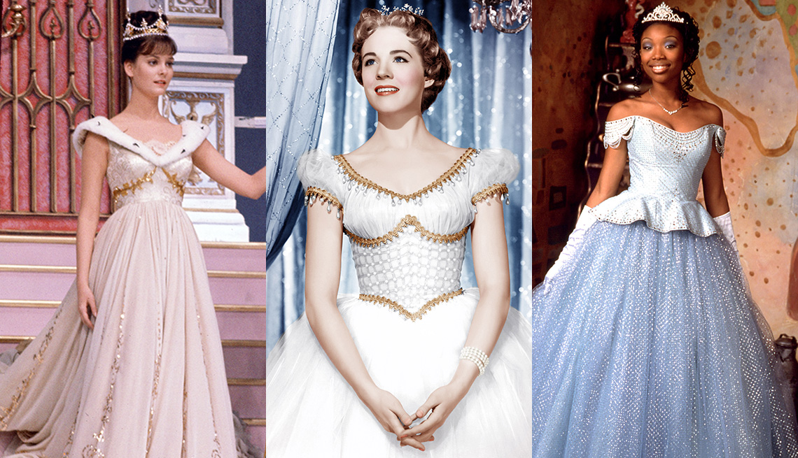 Lesley Ann Warren, Julie Andrews and Brandy Norwood each portraying their on-screen role as Cinderella