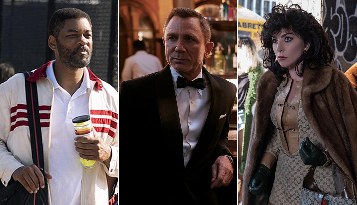 "Will Smith como Richard Williams en ""King Richard"", Daniel Craig como James Bond en ""No Time to Die"" y Lady Gaga como Patrizia Reggiani en ""House of Gucci""."