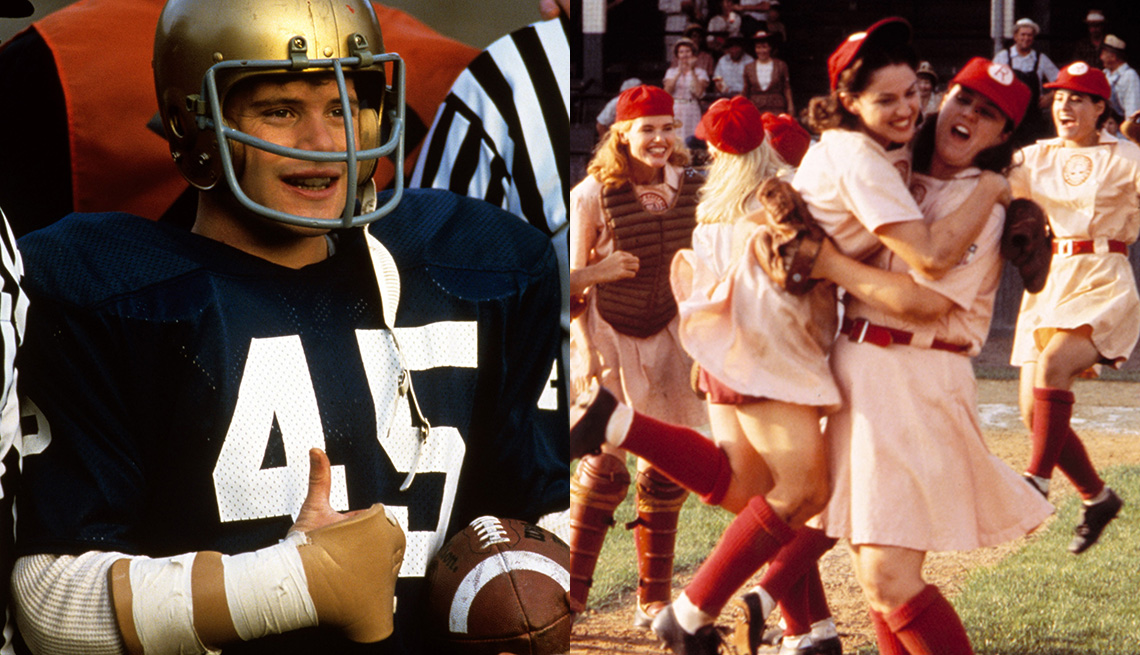 Sean Astin in Rudy and Geena Davis, Madonna and Rosie O'Donnell in A League of Their Own