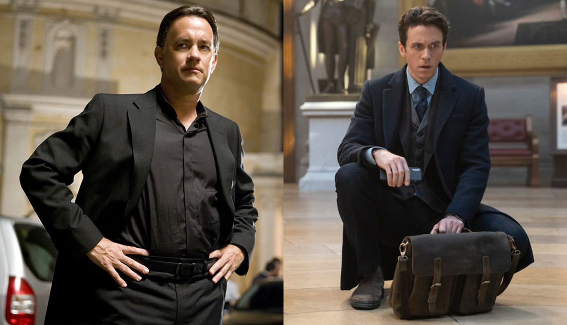 Tom Hanks as Robert Langdon in the film Angels and Demons and Ashley Zukerman as Robert Langdon in the Peacock series The Lost Symbol