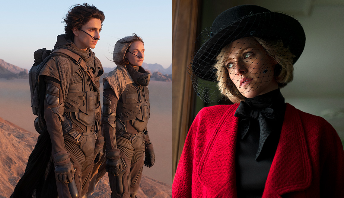 "(De izquierda a derecha) Timothée Chalamet como Paul Atreides y Rebecca Ferguson como Lady Jessica Atreides en ""Dune""; Kristen Stewart como la princesa Diana en ""Spencer""."