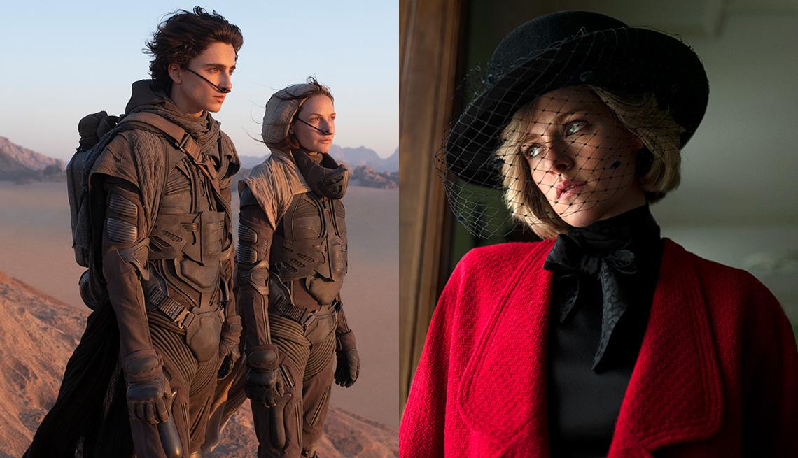 Timothee Chalamet and Rebecca Ferguson star in Dune while Kristen Stewart stars in Spencer