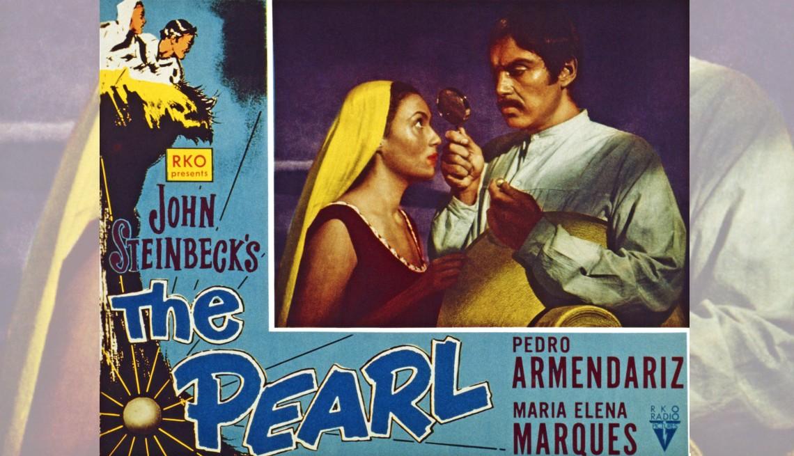 """Cartel promocional de la película """"The Pearl"""" con María Elena Marqués y Pedro Armendáriz."""