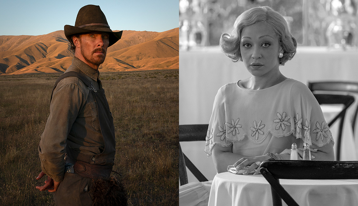 Benedict Cumberbatch in the film The Power of the Dog and Ruth Negga in the film Passing