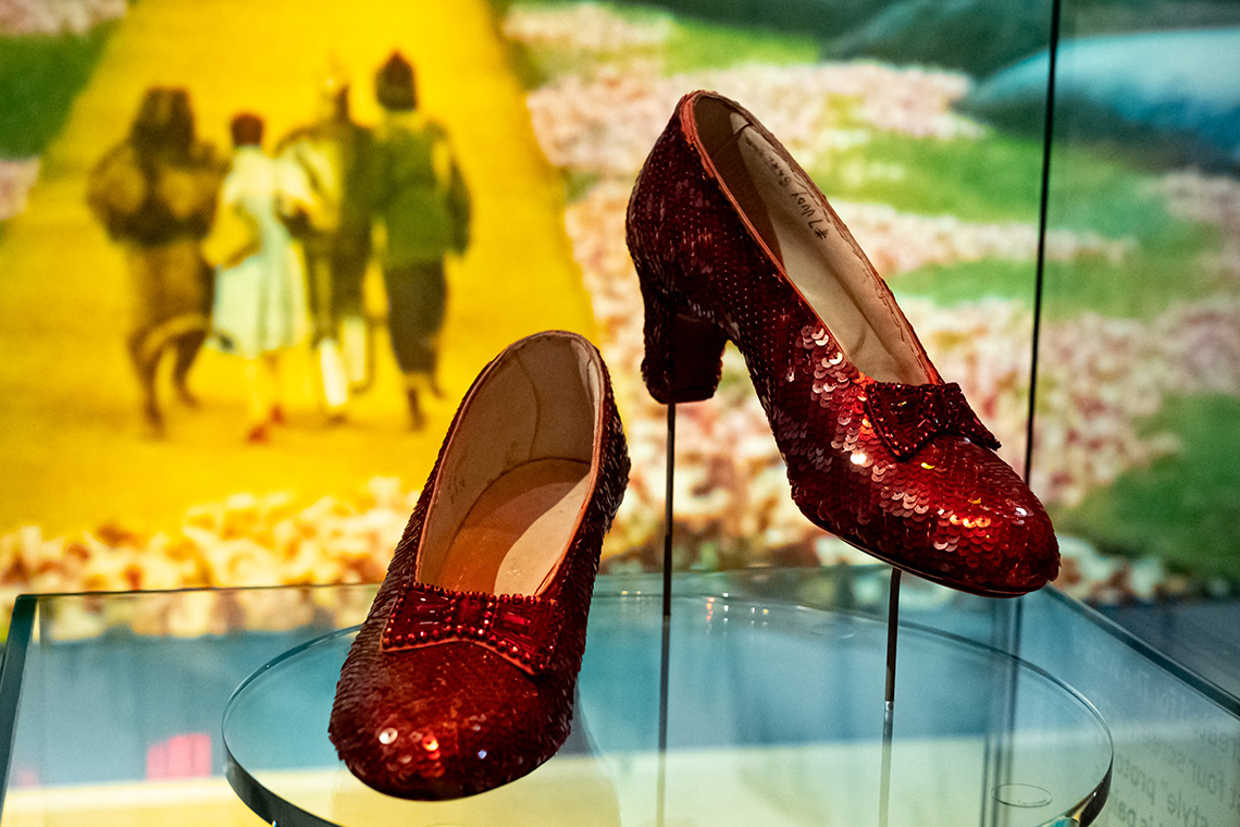 Judy Garland's ruby slippers from The Wizard of Oz on display at the Academy Museum of Motion Pictures
