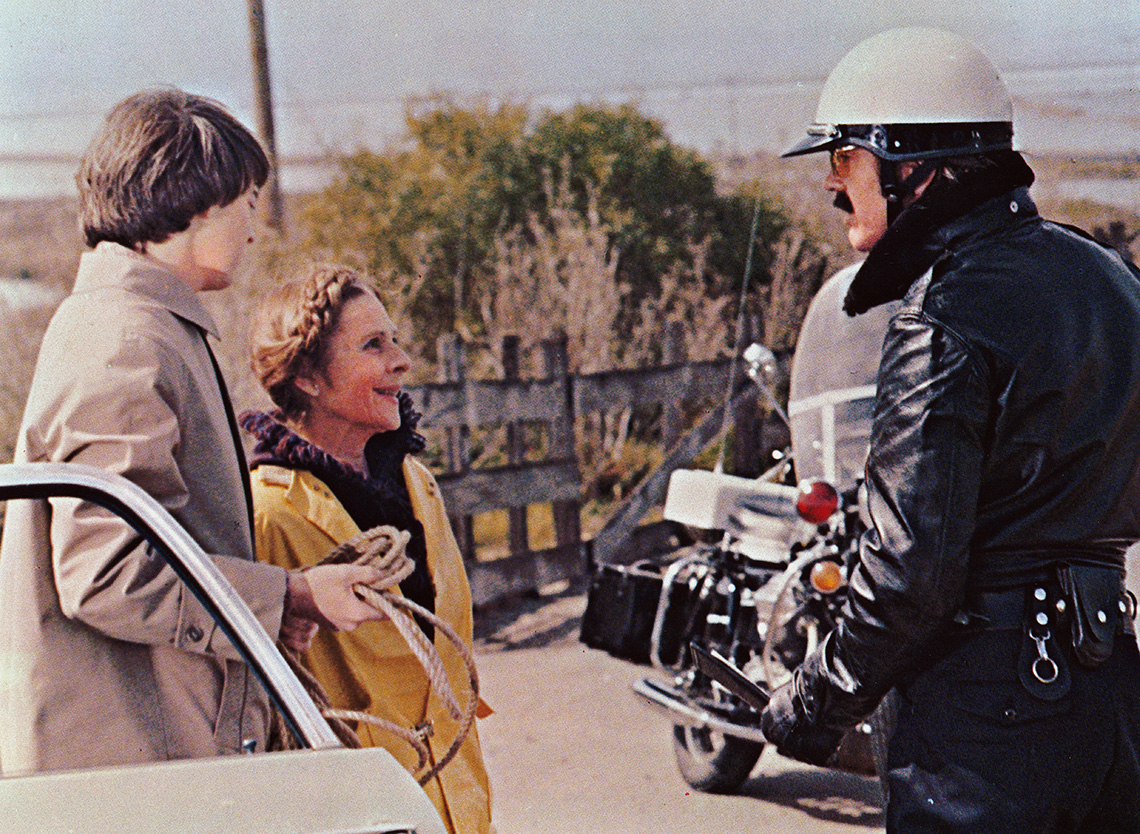Bud Cort, Ruth Gordon and Tom Skerritt in a scene from Harold and Maude